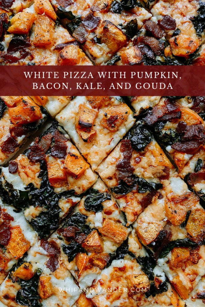 pizza squares with pumpkin, kale, gouda, and bacon