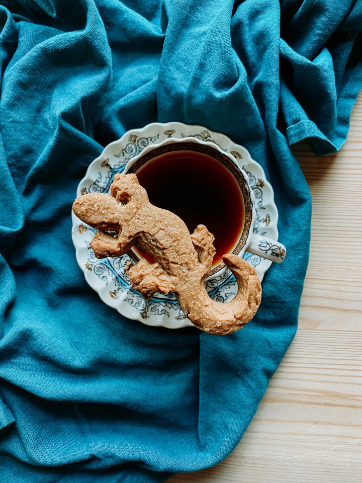 one of Professor McGonagall's Ginger Newt Biscuits resting on top of a cup of tea on a saucer on top of a dark blue green towel