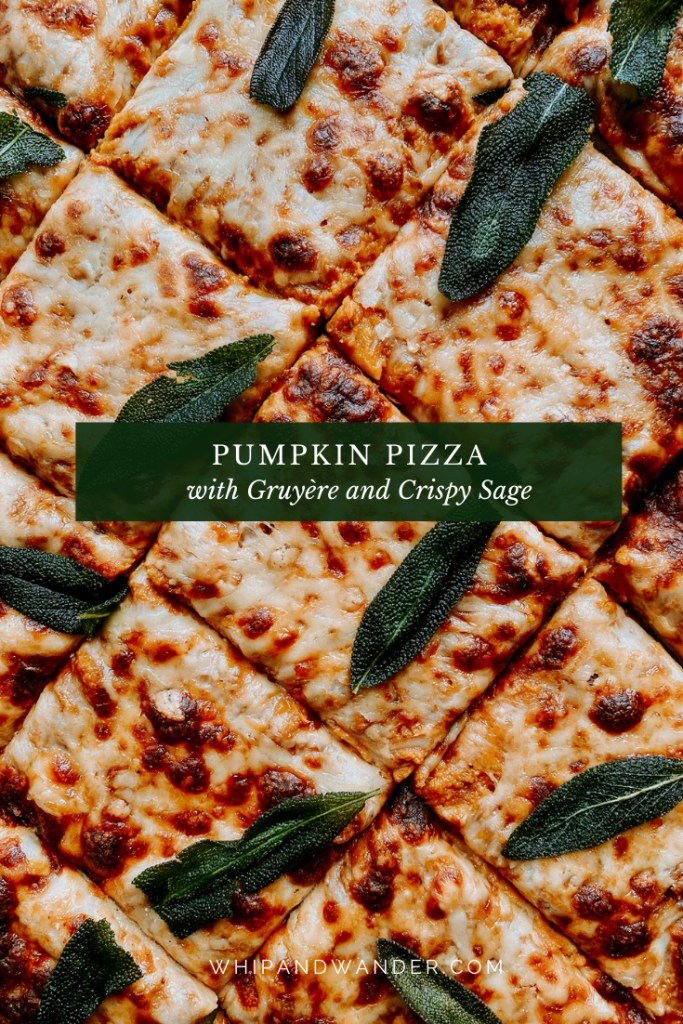 a Pumpkin Pizza with Gruyere and Crispy Sage that has been cut into square pieces