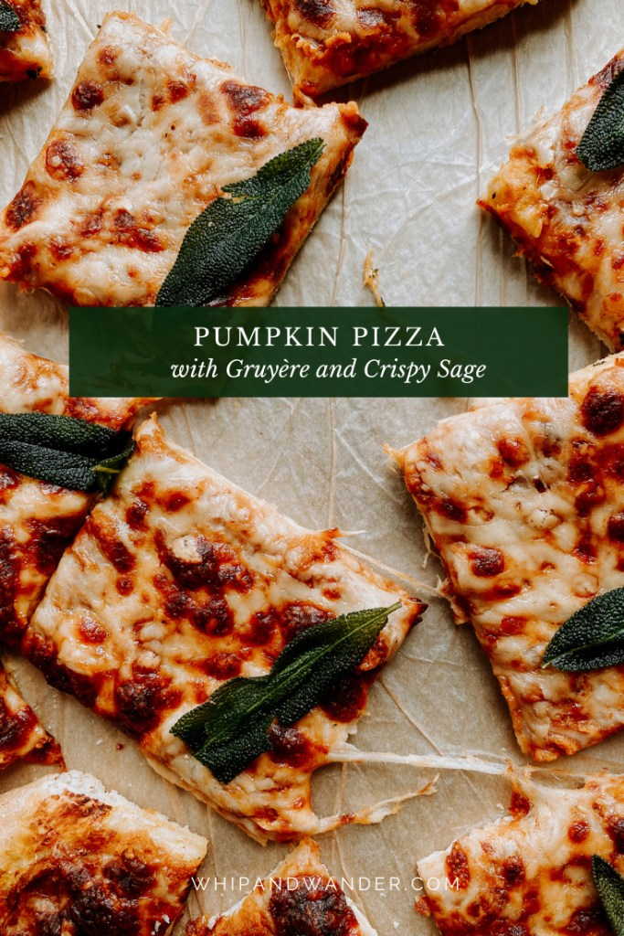 squares of pizza with fried sage resting on a baking tray