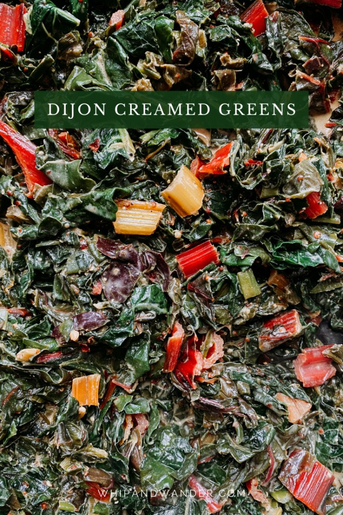closeup of swiss chard and kale that has been creamed