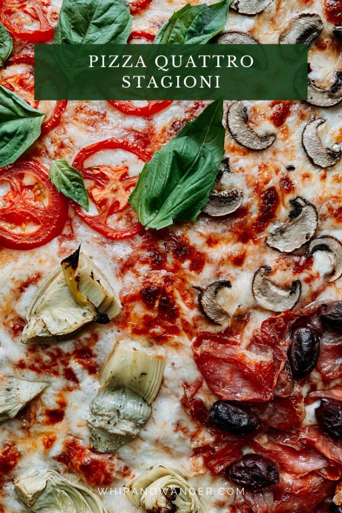 a closeup of the 4 quadrants of Pizza Quattro Stagioni