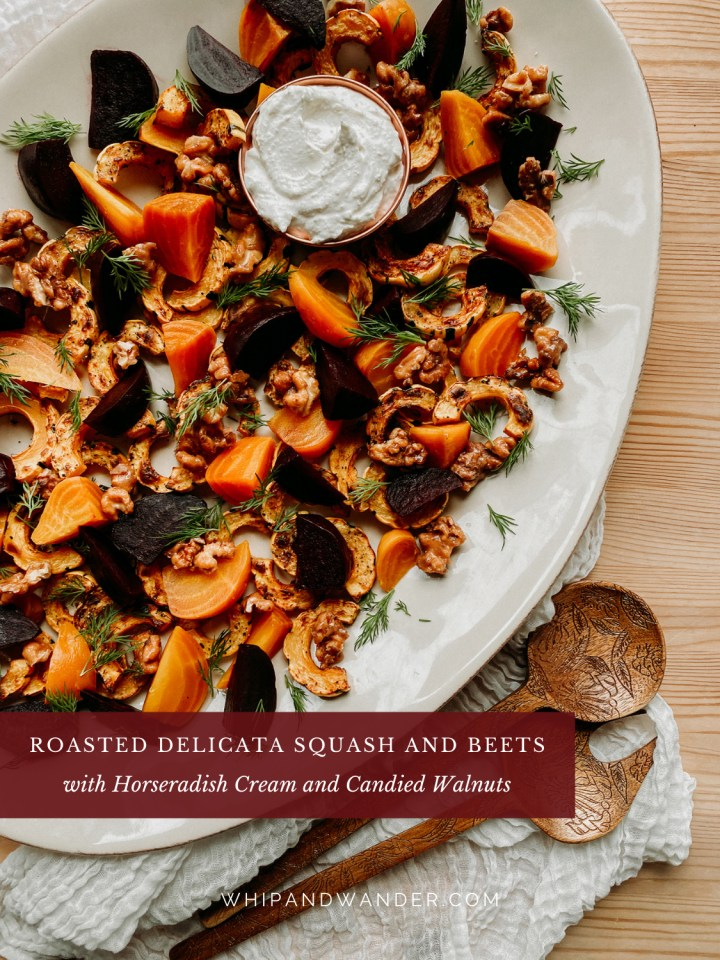 a white platter covered in roasted squash and beets, with candies nuts, fresh dill, and horseradish creams sauce