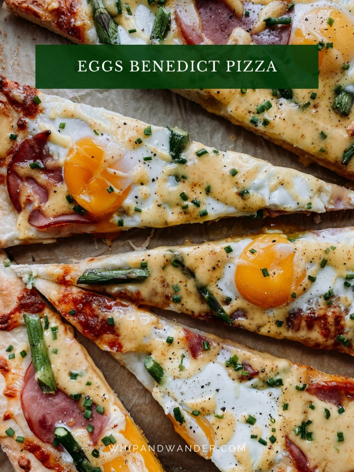 pizza slices with eggs, cheese, asparagus, and canadian bacon