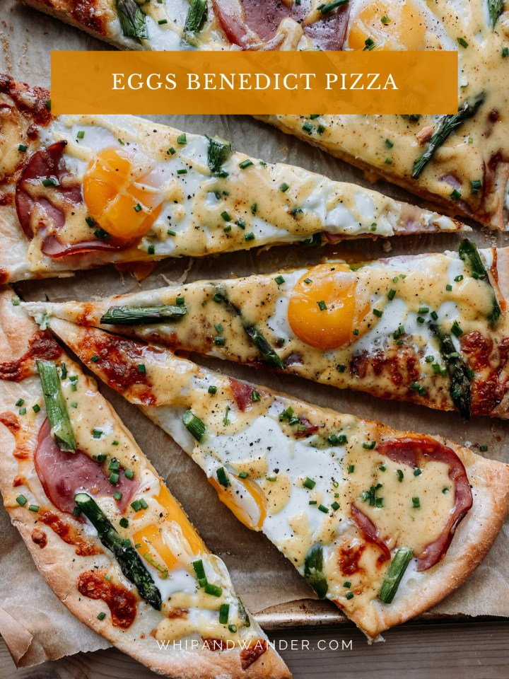slices of Eggs Benedict Pizza on a parchment lined surface
