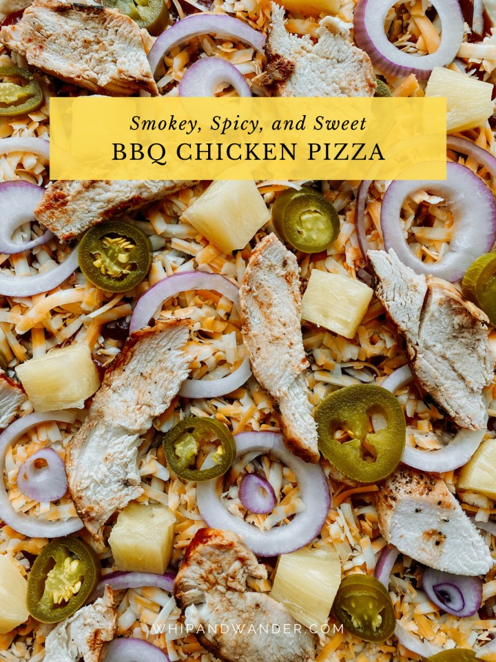 pineapple chunks, slices of jalapeno, chicken slices, onions slices on a cheese and bbq sauce pizza