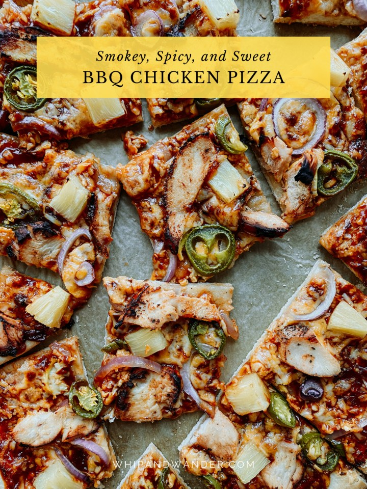 pineapple chunks, bbq chicken, sauce, jalapenos, cheese, and onions on square pieces of pizza