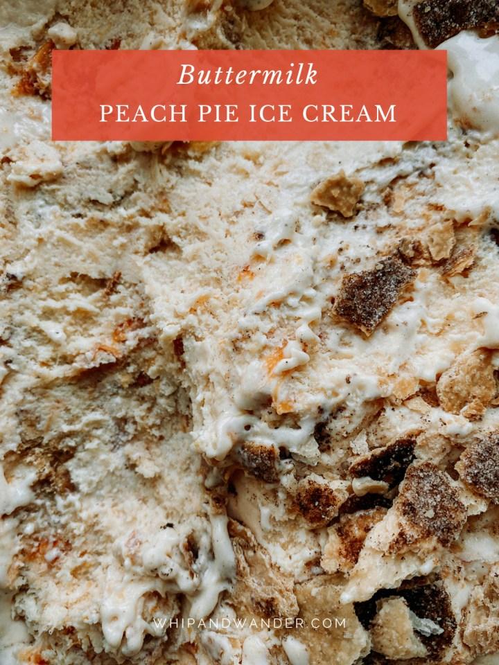 flecks of cinnamon pie crust and peaches in a buttermilk ice cream base