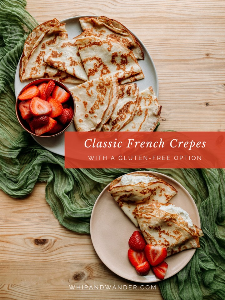 a platter of crepes and strawberries next to a pale pink plate that has two crepes with cream and fruit
