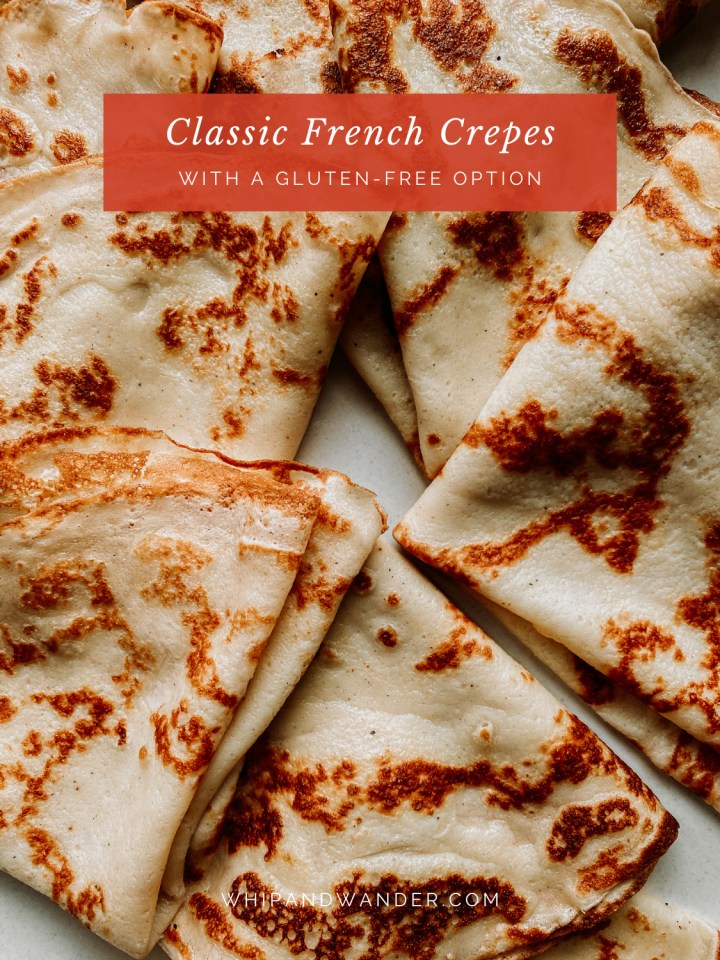 closeup of detain on french crepes in a pile