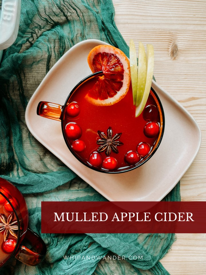 a mug of Mulled Apple Cider garnished with star anise, apple slices, orange, and cranberries on a pale pink tray