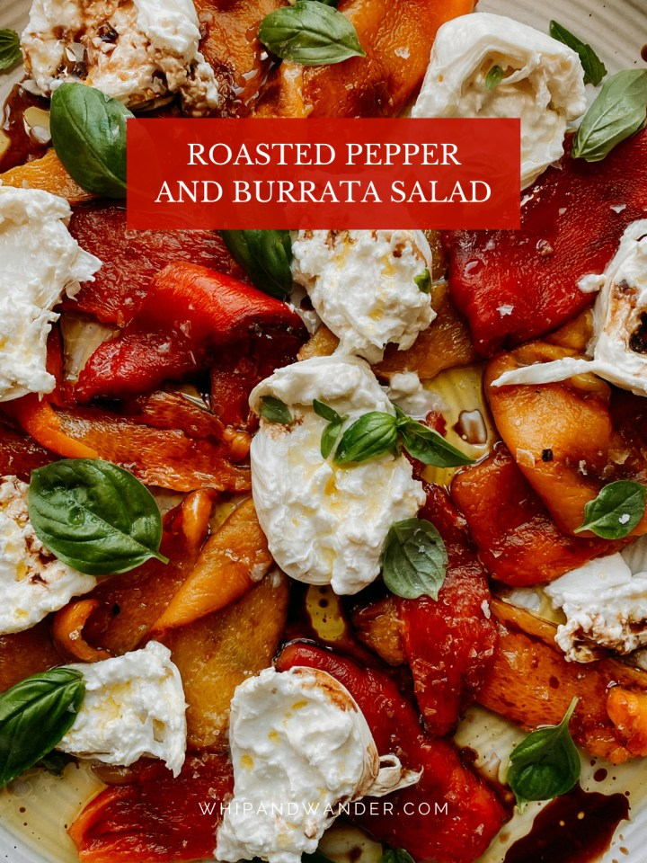 a mixture of roasted yellow, red, and orange peppers, basil, cheese, and oil