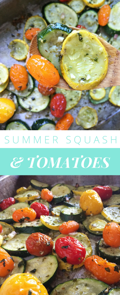 Pinnable graphic for roasted summer squash and tomatoes featuring roasted squash and tomatoes roasted on a sheet pan
