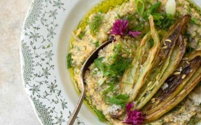 Caramelized Fennel on Herbed Polenta