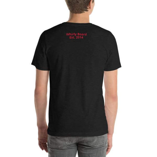 Dark Grey Heather Wisconsin T-shirt Back with Whirly Board Established 2014 writing