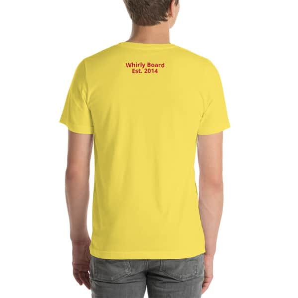 Yellow Wisconsin T-shirt Back with Whirly Board Established 2014 writing
