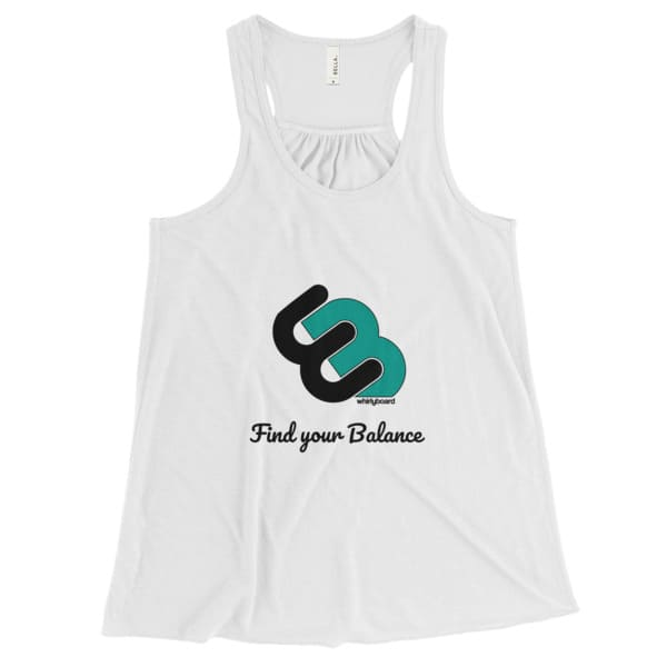 White Women's Flowy tank top with Whirly board logo and Find your balance quote