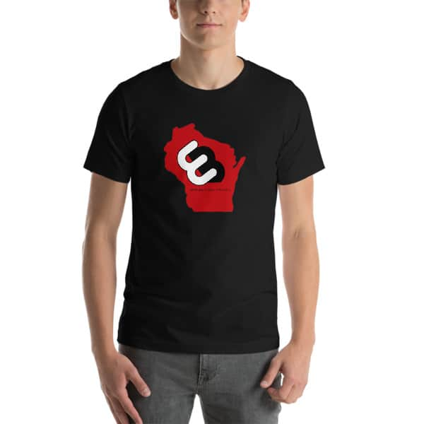 Black Wisconsin T-shirt Front with Red Wisconsin State and Whirly Board Logo