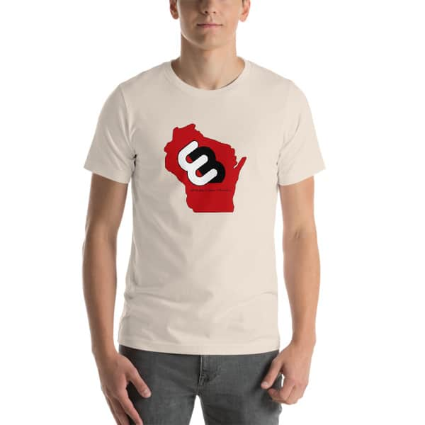 Soft Cream Wisconsin T-shirt Front with Red Wisconsin State and Whirly Board Logo