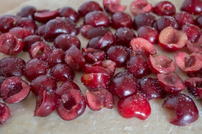 fresh cherries in dough