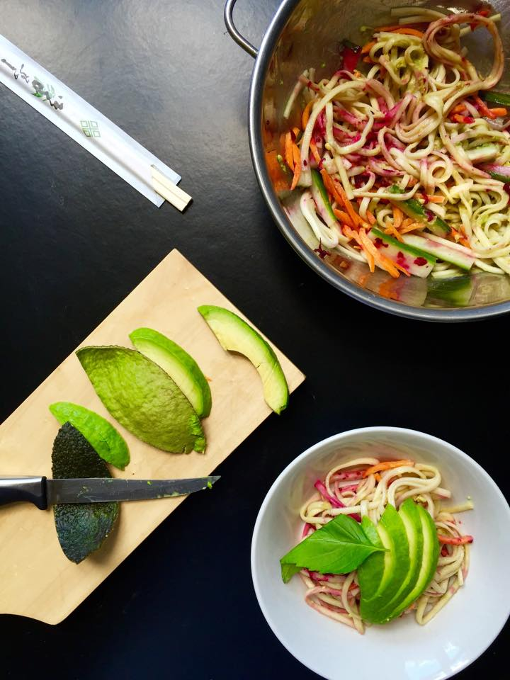 Chilled Udon Noodle Salad with Avocado Wasabi Dressing | Whisk and Shout