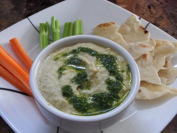 Scape Hummus with Cilantro Oil Recipe