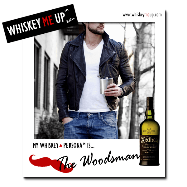 Whiskey Me Up Whiskey Persona Polaroid for Woodsman with Ardbeg 10 (front)