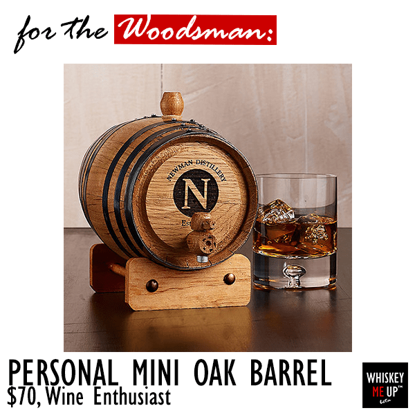 2016 Gift for Whiskey Persona Woodsman: Personalized Mini Oak Barrel