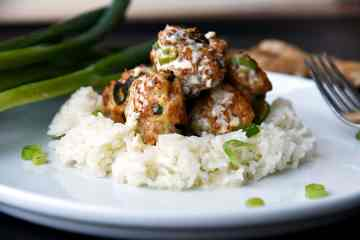 Chicken Scallion Ginger Meatballs with Garlic Cream Sauce