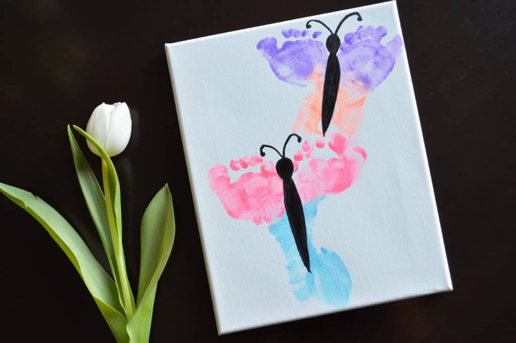 Foot Print Butterfly Canvas