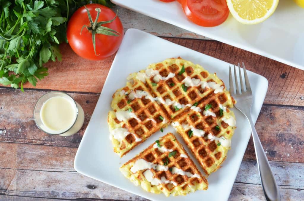 Waffled Cauliflower with Thyme Parmesan and Creamy Lemon Sauce