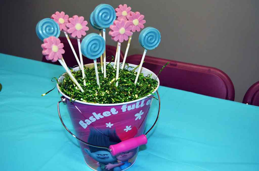 Trolls birthday party center piece