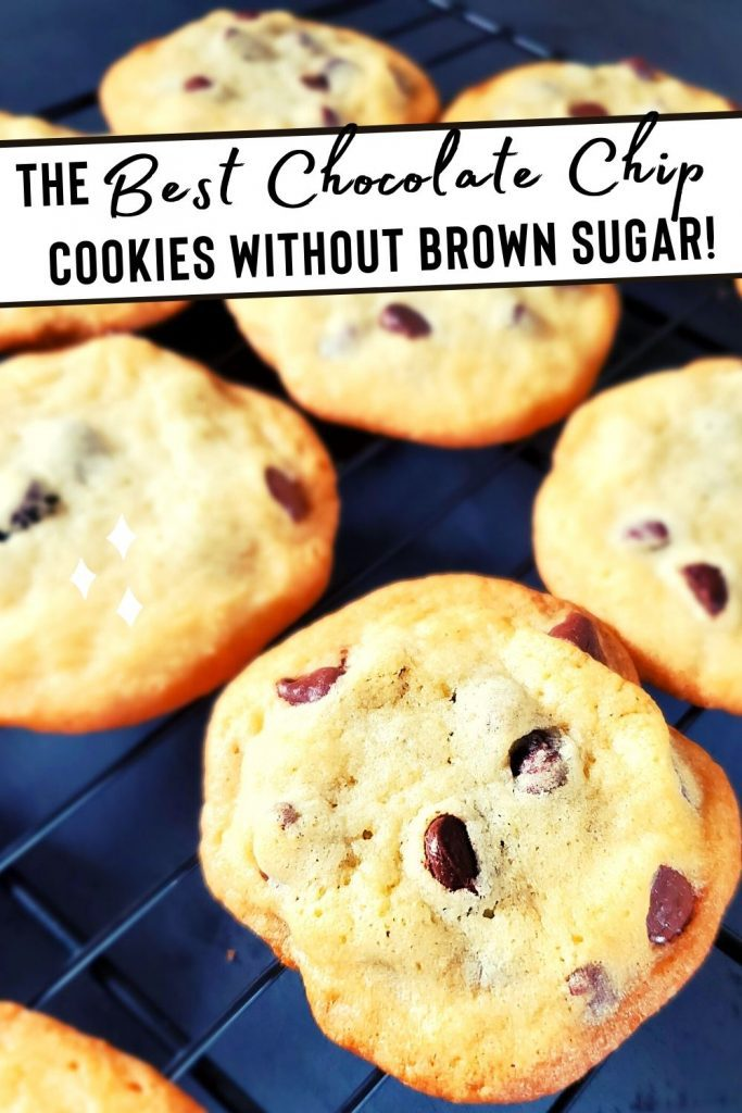 The best chocolate chip cookies with no brown sugar on cooling rack.