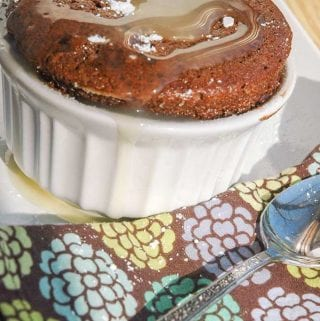 Brandied Caramel Chocolate Souffle with Sauce