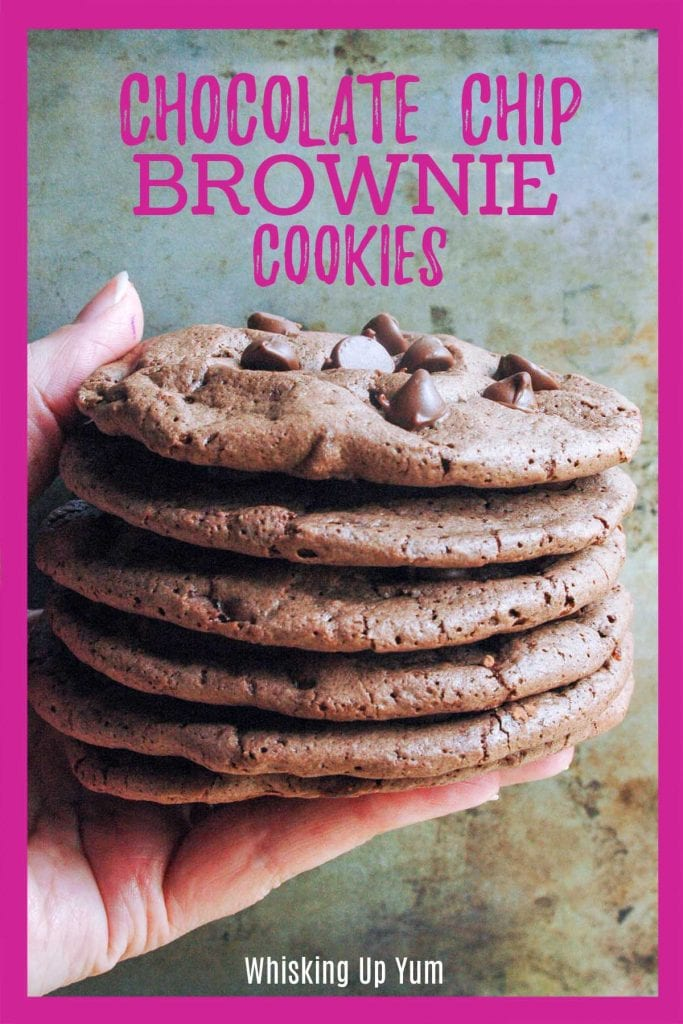 Stack of chocolate chip brownie cookies