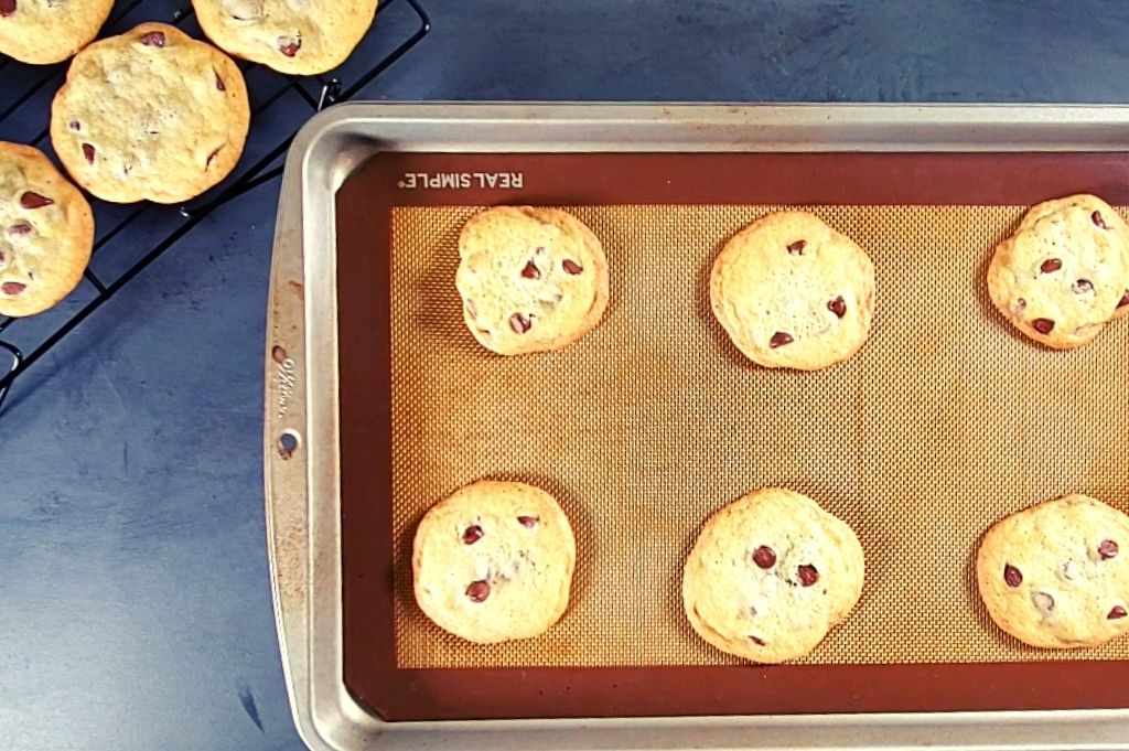 Easy homemade chocolate chip cookies without brown sugar on cookie pan. These soft chocolate chip cookies are so yummy!