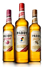 "Paddy Irish Whiskey (C) and the two U.S. flavored versions, ""Devil's Apple"" and ""Bee Sting"". Image courtesy Irish Distillers."