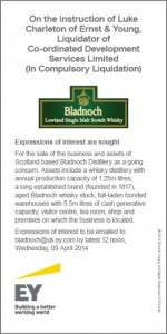 The legal notice offering Bladnoch Distillery for sale as a going concern. Courtesy Ernst & Young. This is not a paid advertisement.