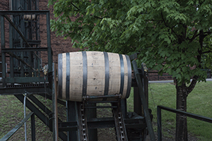 The barrel conveyor belt at Buffalo Trace Distillery. Image ©2011 by Mark Gillespie.