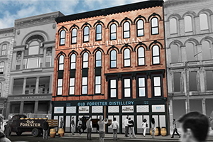 An architect's rendering of Brown-Forman's planned Old Forester Distillery on Main Street in downtown Louisville. Image courtesy Brown-Forman.