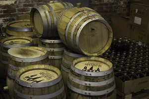 Stacks of barrels at Corsair Artisan Distillery's facility in Bowling Green, Kentucky. Photo ©2013 by Mark Gillespie.