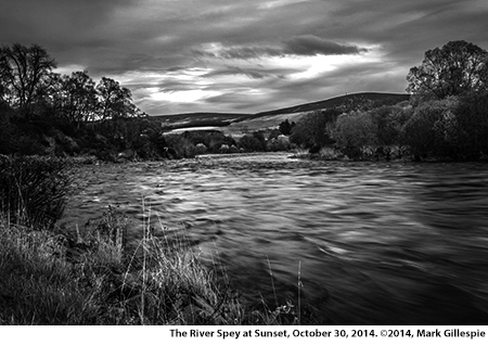 The River Spey at Sunset, October 30, 2014. Photo ©2014 by Mark Gillespie.