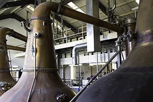 The stillroom at Diageo's Linkwood Distillery in Elgin, Scotland. Photo ©2015 by Mark Gillespie.