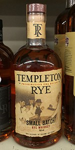 This Templeton Rye bottle shown on a retailer's shelf includes the language that must be changed as part of the settlement agreement. Photo ©2015 by Mark Gillespie.