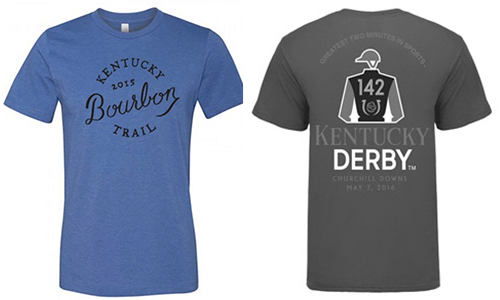 Trademarked shirts for the Kentucky Bourbon Trail and the Kentucky Derby. Images courtesy KDA and Churchill Downs.