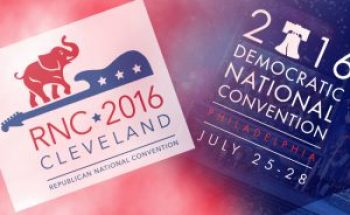 Logos for the 2016 Republican and Democratic national conventions. Logos courtesy DNC and RNC.