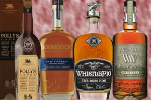 Bottles of Polly's Casks, Boondocks Cask Strength, Whistlepig Rye's Boss Hogg, and Wyoming Whiskey's Outryder whiskies.