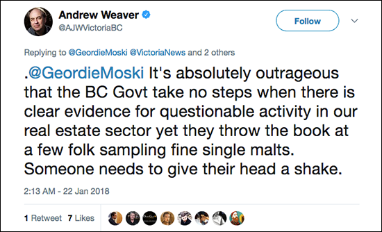 A tweet from BC Green Party leader Andrew Weaver reacting to the province's crackdown on four Scotch Malt Whisky Society partner bars. Image courtesy Twitter.