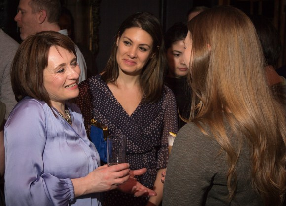 Brown-Forman's Rachel Barrie talks with guests at a GlenDronach and BenRiach tasting March 19, 2018 in New York City. Photo ©2018, Mark Gillespie/CaskStrength Media.