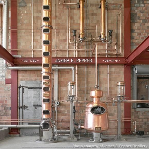 The stills at the James E. Pepper Distillery in Lexington, Kentucky. Photo courtesy James E. Pepper Distillery.